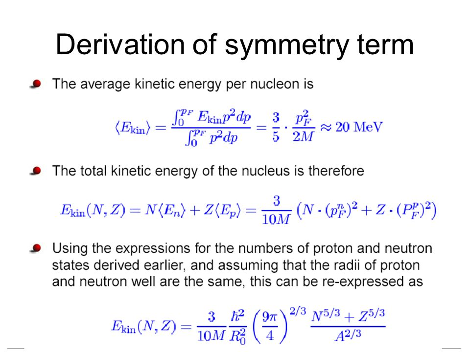 Derivation of symmetry term
