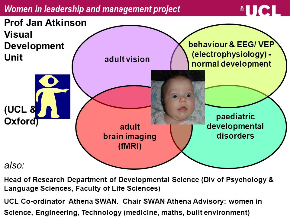 adult vision behaviour & EEG/ VEP (electrophysiology) - normal development paediatric developmental disorders adult brain imaging (fMRI) also: Head of Research Department of Developmental Science (Div of Psychology & Language Sciences, Faculty of Life Sciences) UCL Co-ordinator Athena SWAN.
