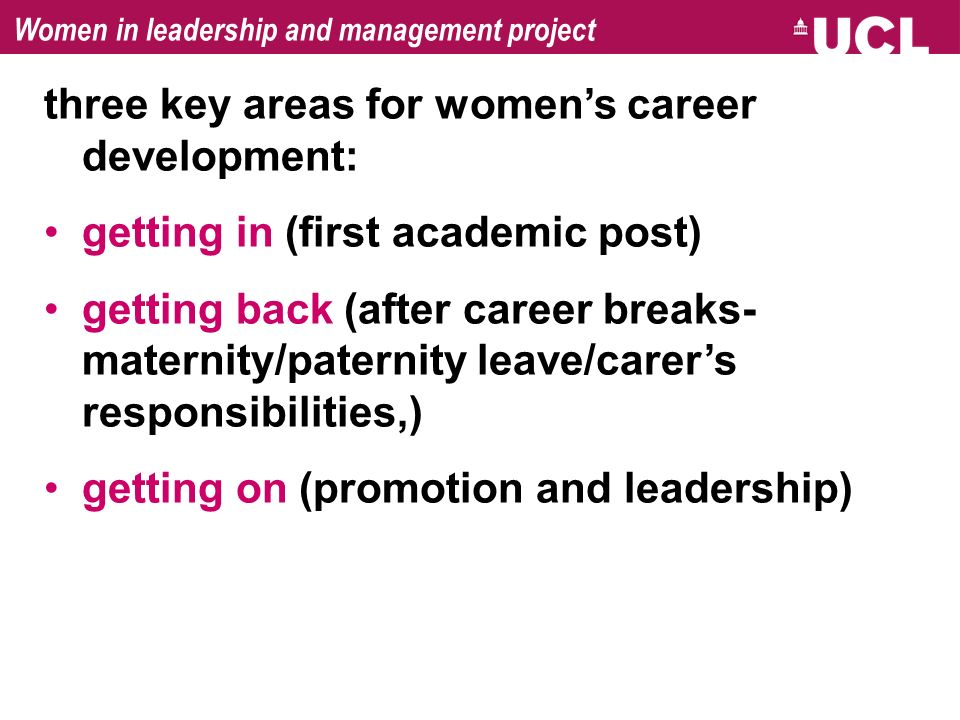 Women in leadership and management project three key areas for womens career development: getting in (first academic post) getting back (after career
