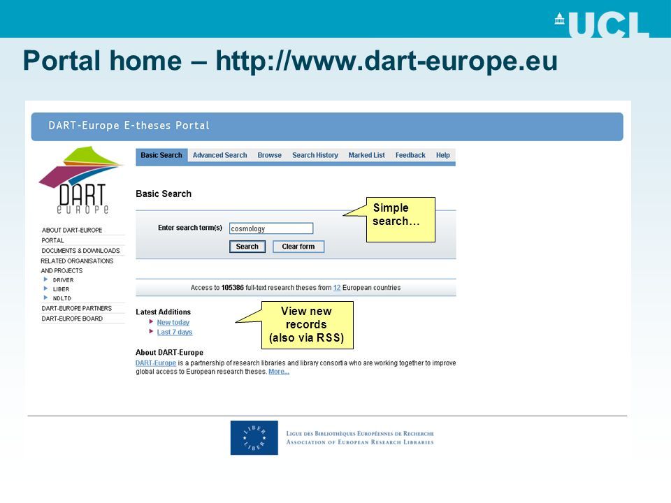 Portal home – http://www.dart-europe.eu View new records (also via RSS) Simple search…