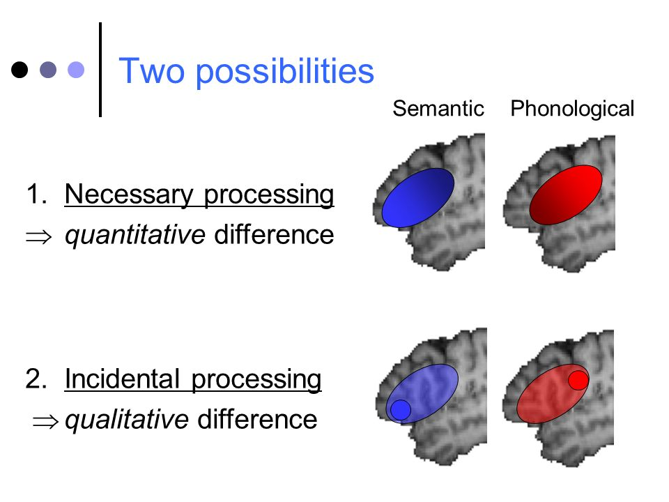 Two possibilities 1.Necessary processing quantitative difference 2.Incidental processing qualitative difference Semantic Phonological