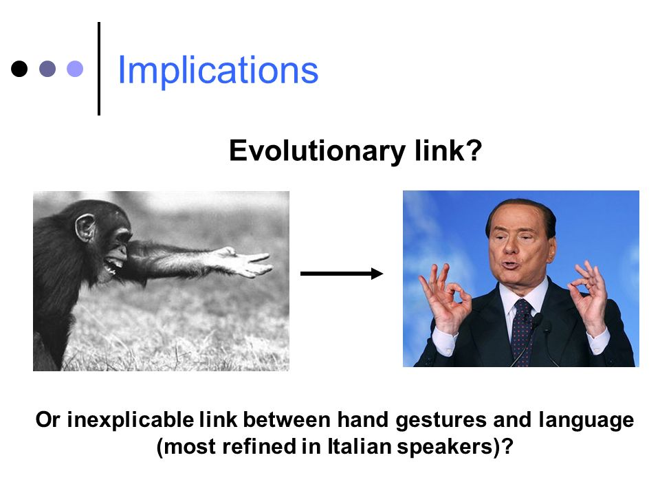 Implications Evolutionary link? Or inexplicable link between hand gestures and language (most refined in Italian speakers)?