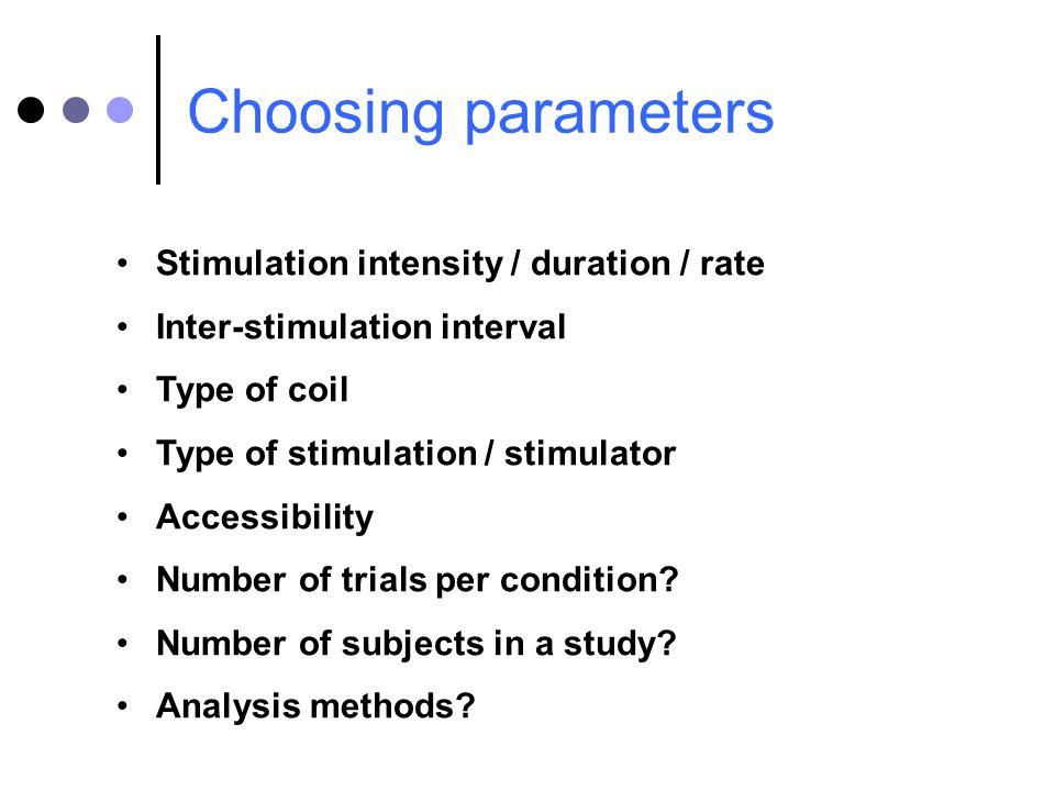 Choosing parameters Stimulation intensity / duration / rate Inter-stimulation interval Type of coil Type of stimulation / stimulator Accessibility Num