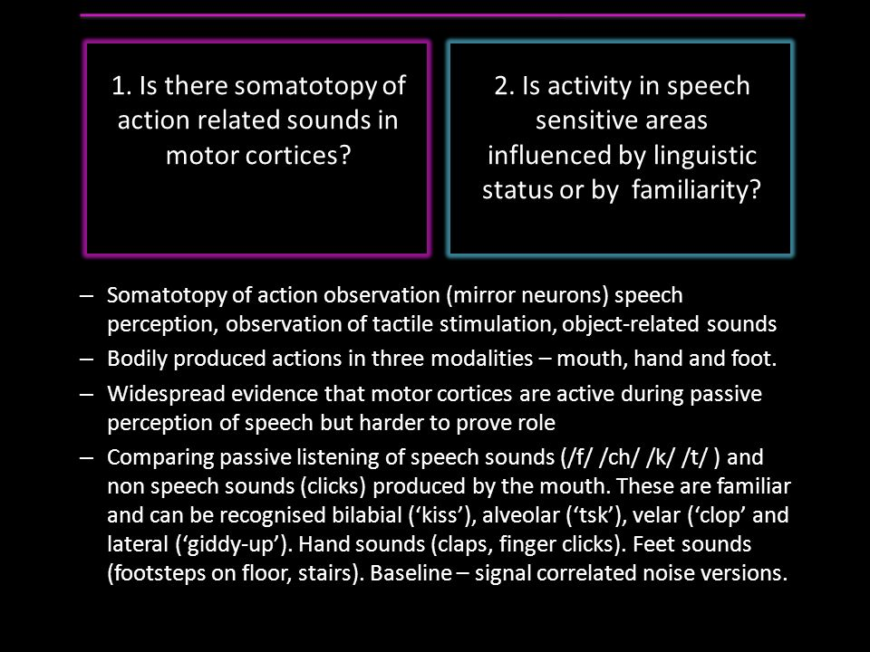 1.Is there somatotopy of action related sounds in motor cortices.