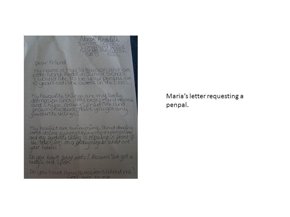 Marias letter requesting a penpal.