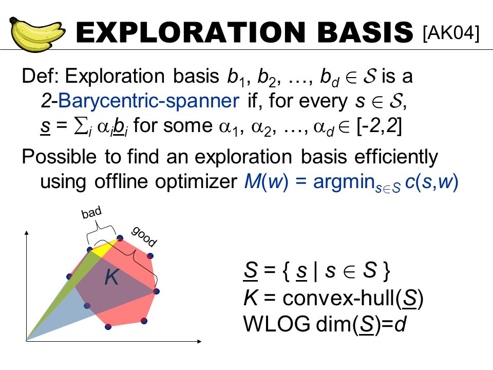 EXPLORATION BASIS Def: Exploration basis b 1, b 2, …, b d 2 S is a 2-Barycentric-spanner if, for every s 2 S, s = i i b i for some 1, 2, …, d 2 [-2,2]