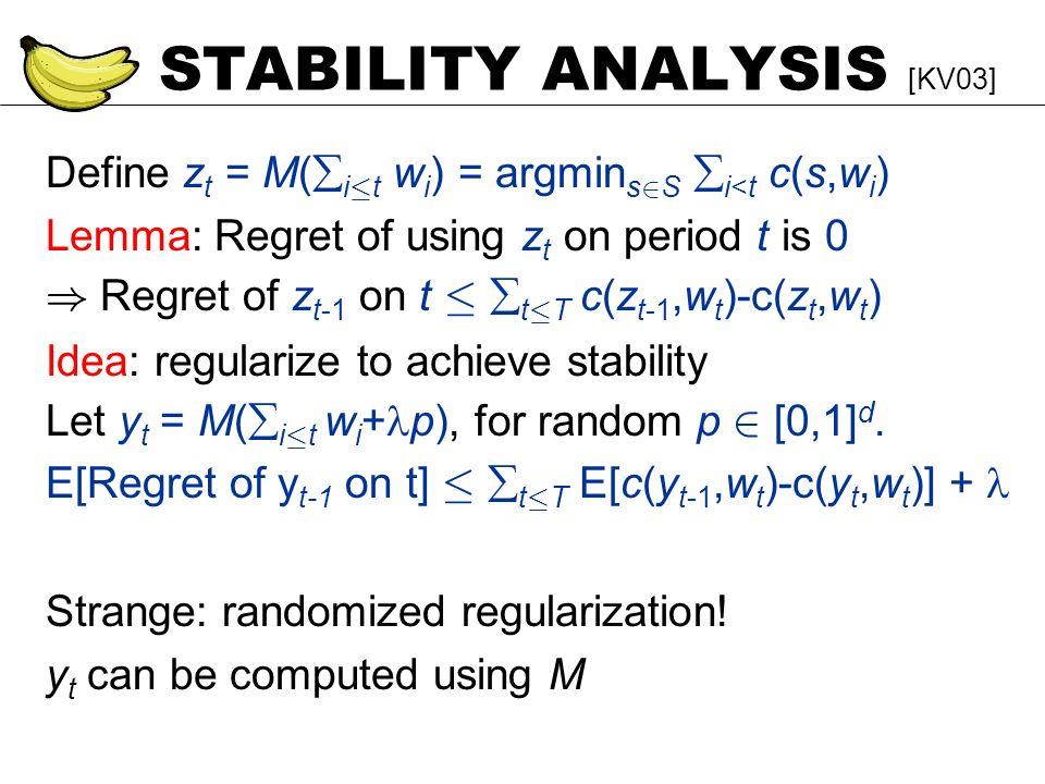 STABILITY ANALYSIS [KV03] Define z t = M( i · t w i ) = argmin s 2 S i<t c(s,w i ) Lemma: Regret of using z t on period t is 0 ) Regret of z t-1 on t · t · T c(z t-1,w t )-c(z t,w t ) Idea: regularize to achieve stability Let y t = M( i · t w i + p), for random p 2 [0,1] d.