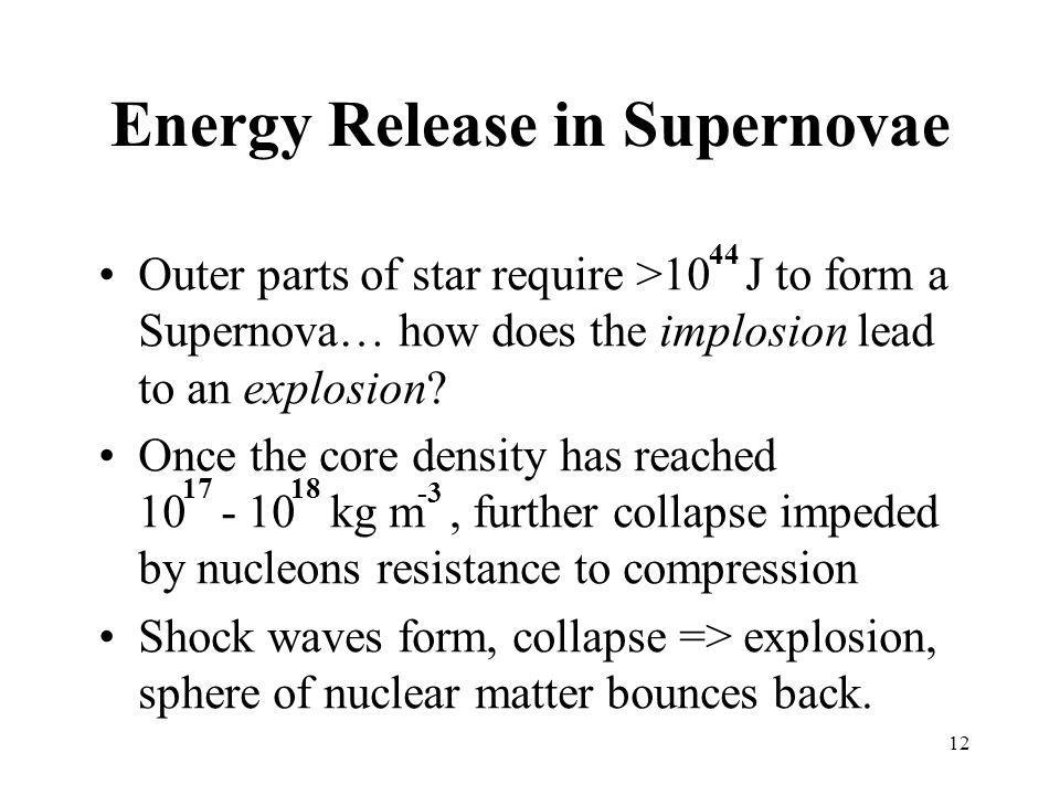 12 Energy Release in Supernovae Outer parts of star require >10 J to form a Supernova… how does the implosion lead to an explosion.