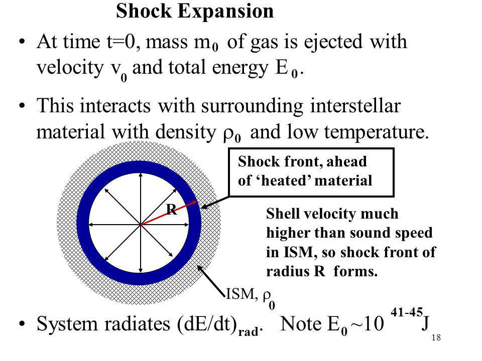 18 ISM, At time t=0, mass m of gas is ejected with velocity v and total energy E.