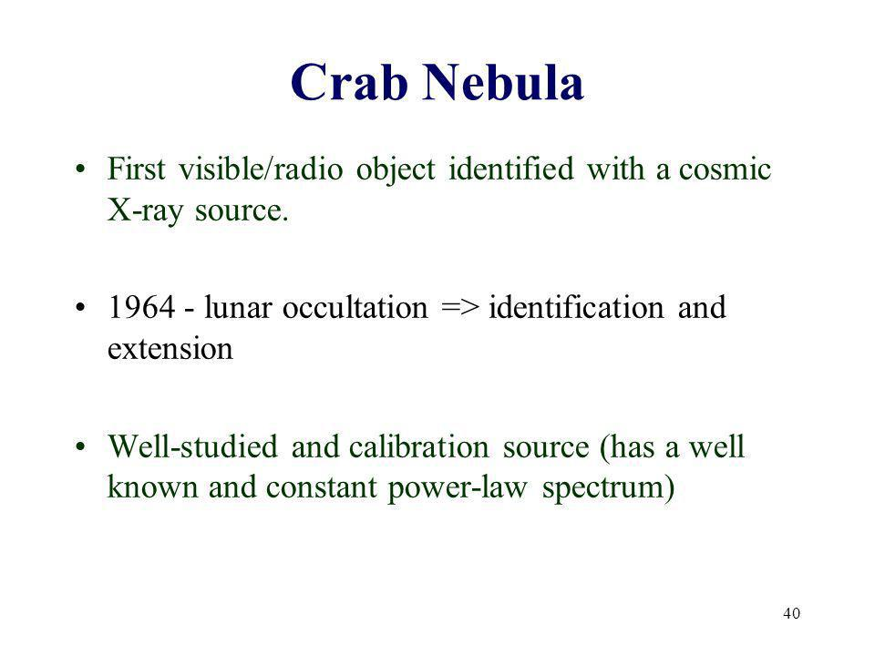 40 Crab Nebula First visible/radio object identified with a cosmic X-ray source.