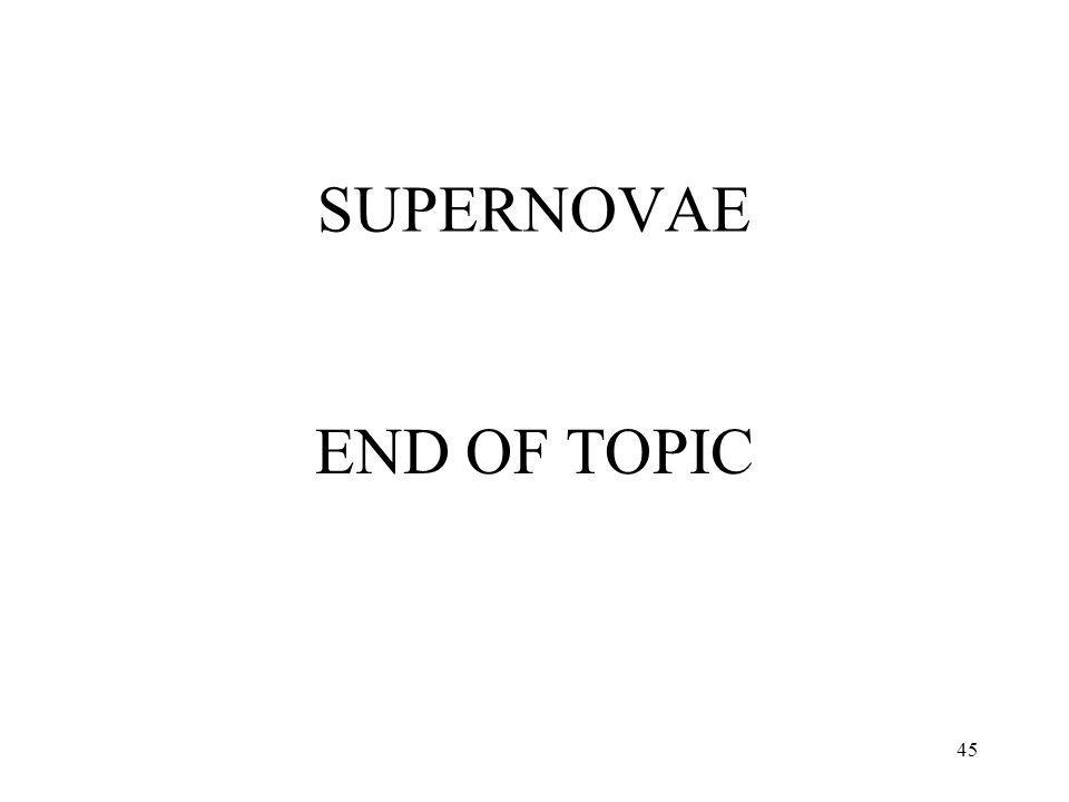 45 SUPERNOVAE END OF TOPIC
