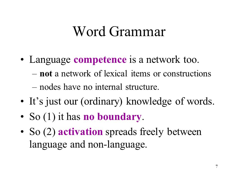 7 Word Grammar Language competence is a network too.