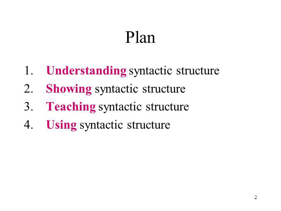 2 Plan 1. Understanding syntactic structure 2. Showing syntactic structure 3.