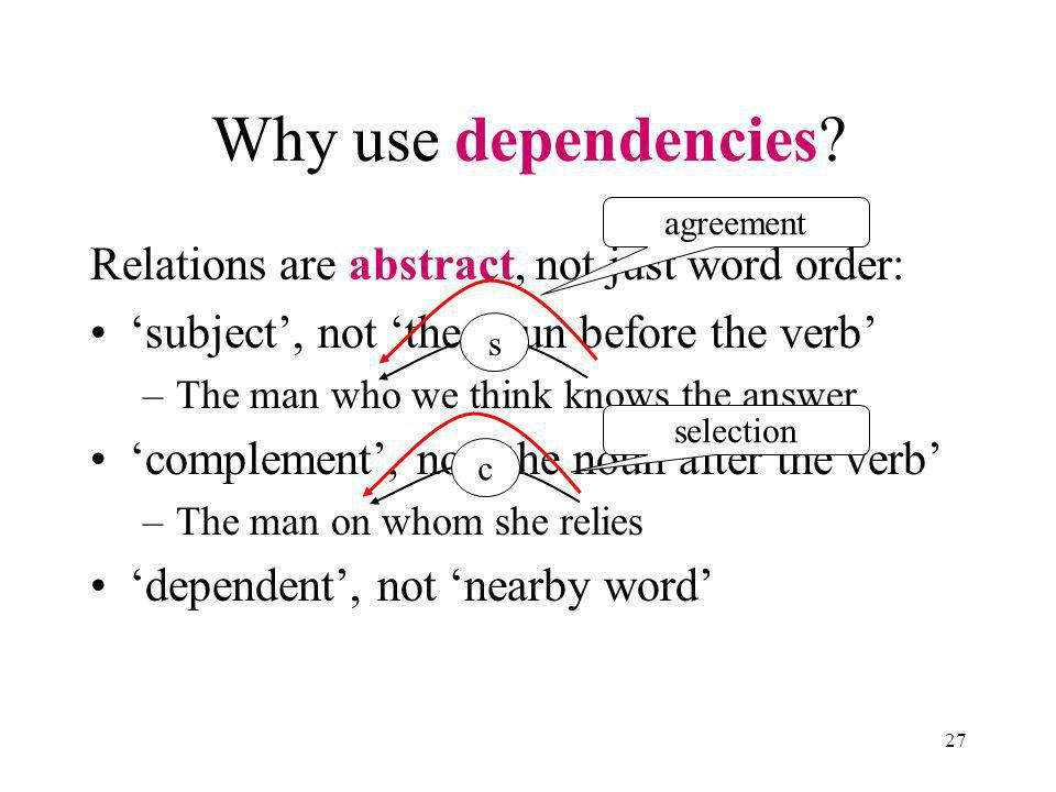 27 Relations are abstract, not just word order: subject, not the noun before the verb –The man who we think knows the answer complement, not the noun after the verb –The man on whom she relies dependent, not nearby word Why use dependencies.