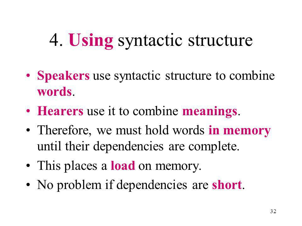 32 4. Using syntactic structure Speakers use syntactic structure to combine words.