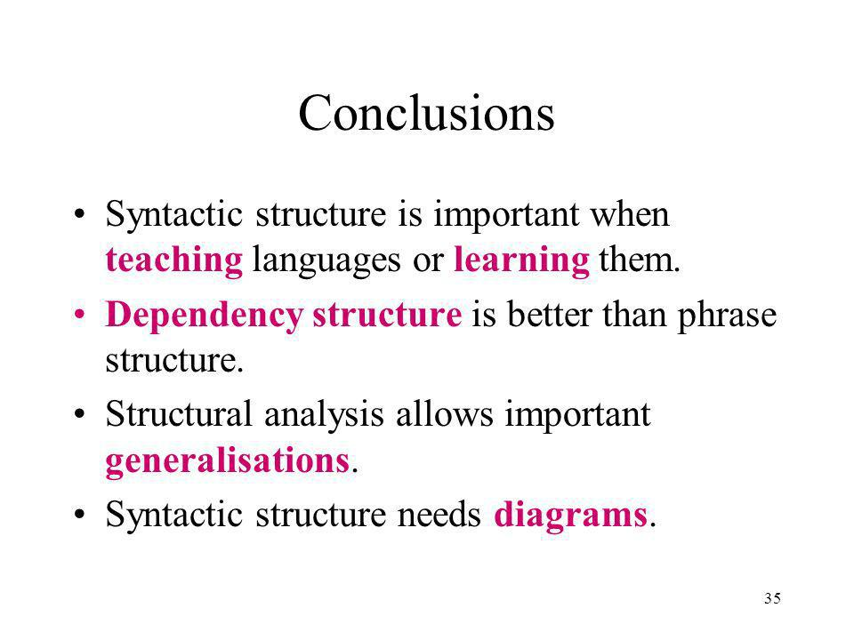 35 Conclusions Syntactic structure is important when teaching languages or learning them.