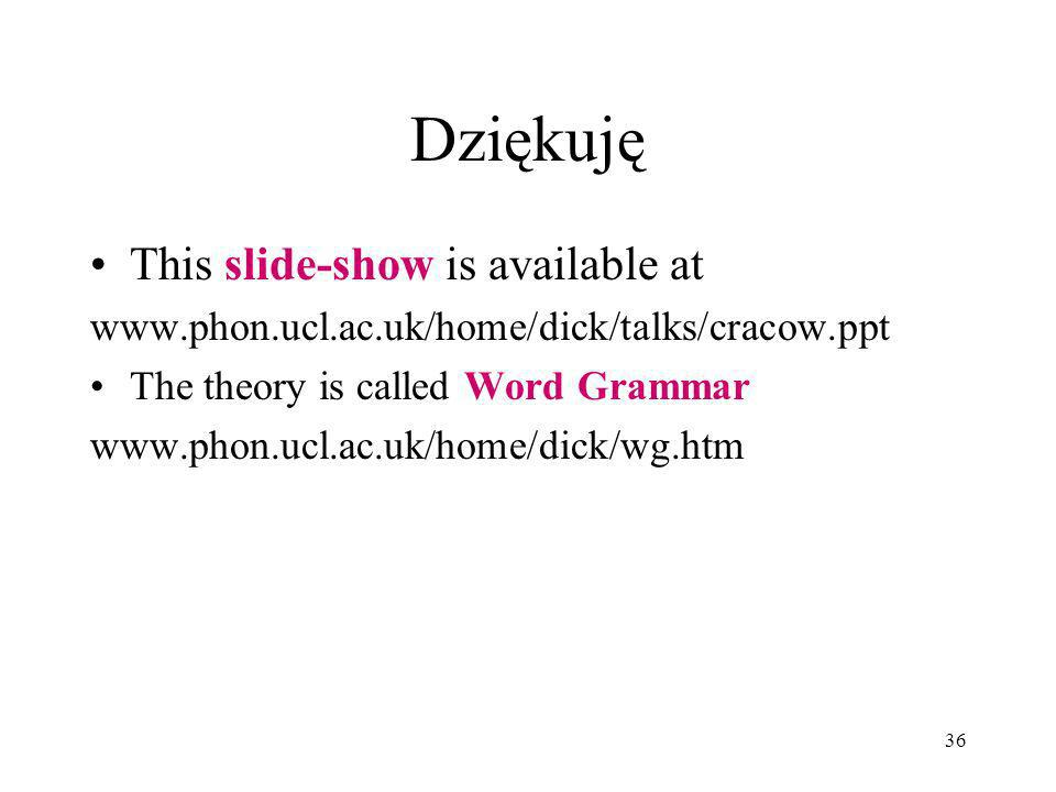 36 Dziękuję This slide-show is available at www.phon.ucl.ac.uk/home/dick/talks/cracow.ppt The theory is called Word Grammar www.phon.ucl.ac.uk/home/dick/wg.htm