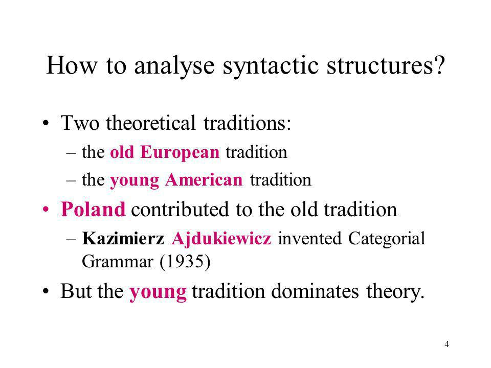 4 How to analyse syntactic structures.