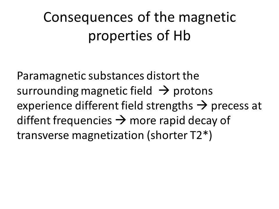 Consequences of the magnetic properties of Hb Paramagnetic substances distort the surrounding magnetic field protons experience different field streng