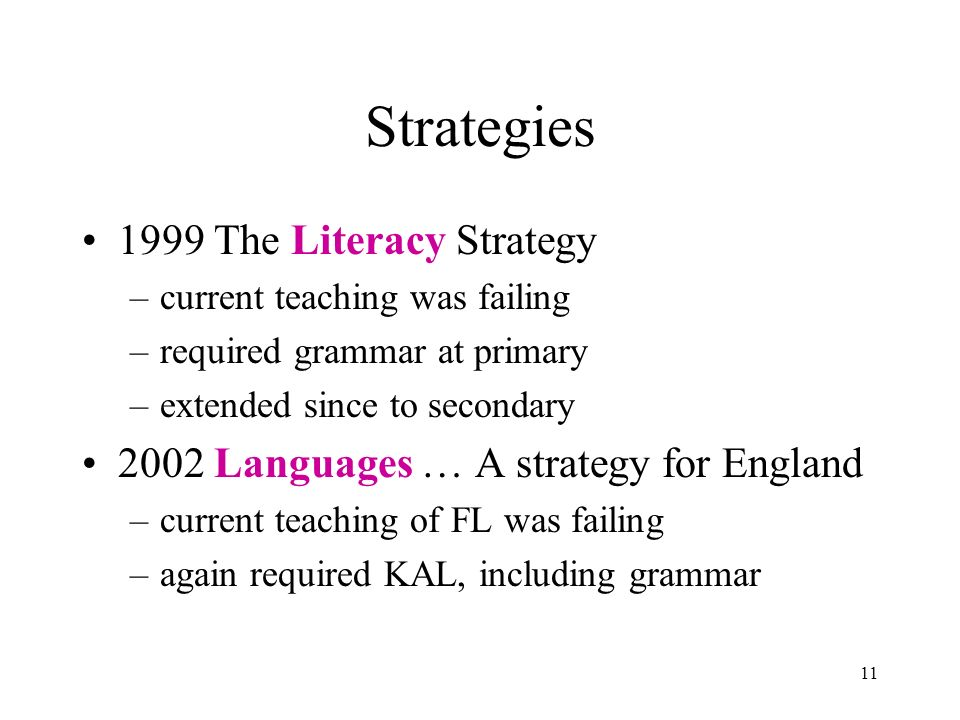 11 Strategies 1999 The Literacy Strategy –current teaching was failing –required grammar at primary –extended since to secondary 2002 Languages … A strategy for England –current teaching of FL was failing –again required KAL, including grammar