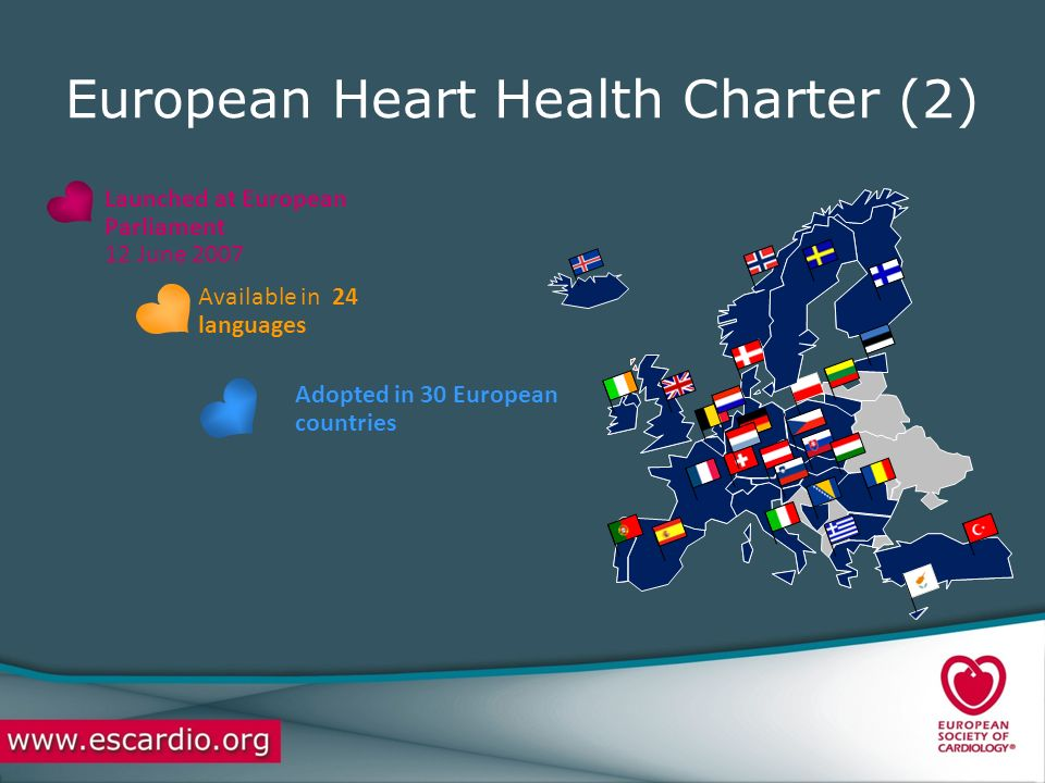 European Heart Health Charter (2) Launched at European Parliament 12 June 2007 Available in 24 languages Adopted in 30 European countries