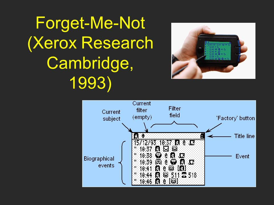 Forget-Me-Not (Xerox Research Cambridge, 1993)