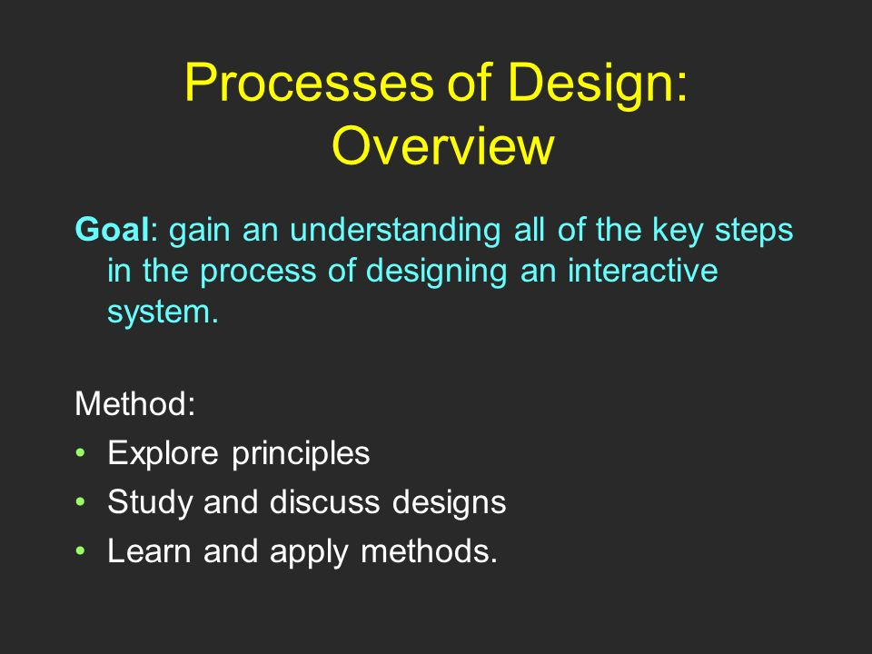 Processes of Design: Overview Method: Explore principles Study and discuss designs Learn and apply methods.