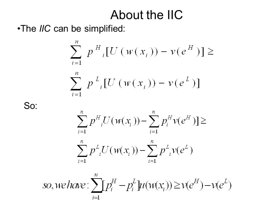 The IIC can be simplified: About the IIC So: