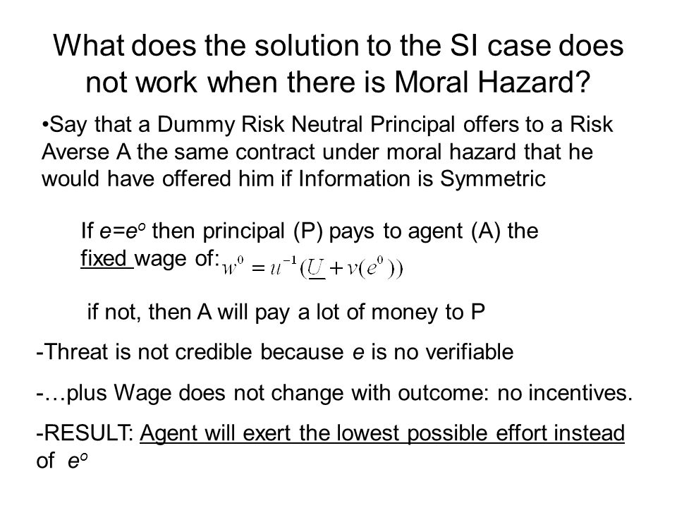 What does the solution to the SI case does not work when there is Moral Hazard? Say that a Dummy Risk Neutral Principal offers to a Risk Averse A the