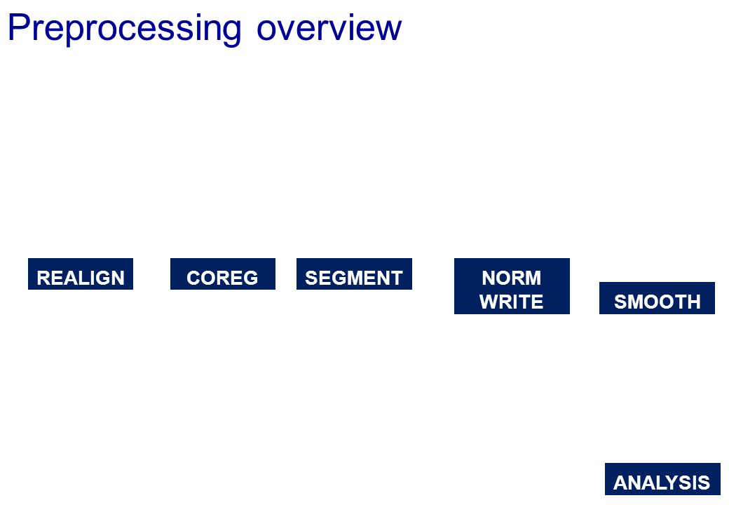 Preprocessing overview REALIGNCOREGSEGMENT NORM WRITE SMOOTH ANALYSIS