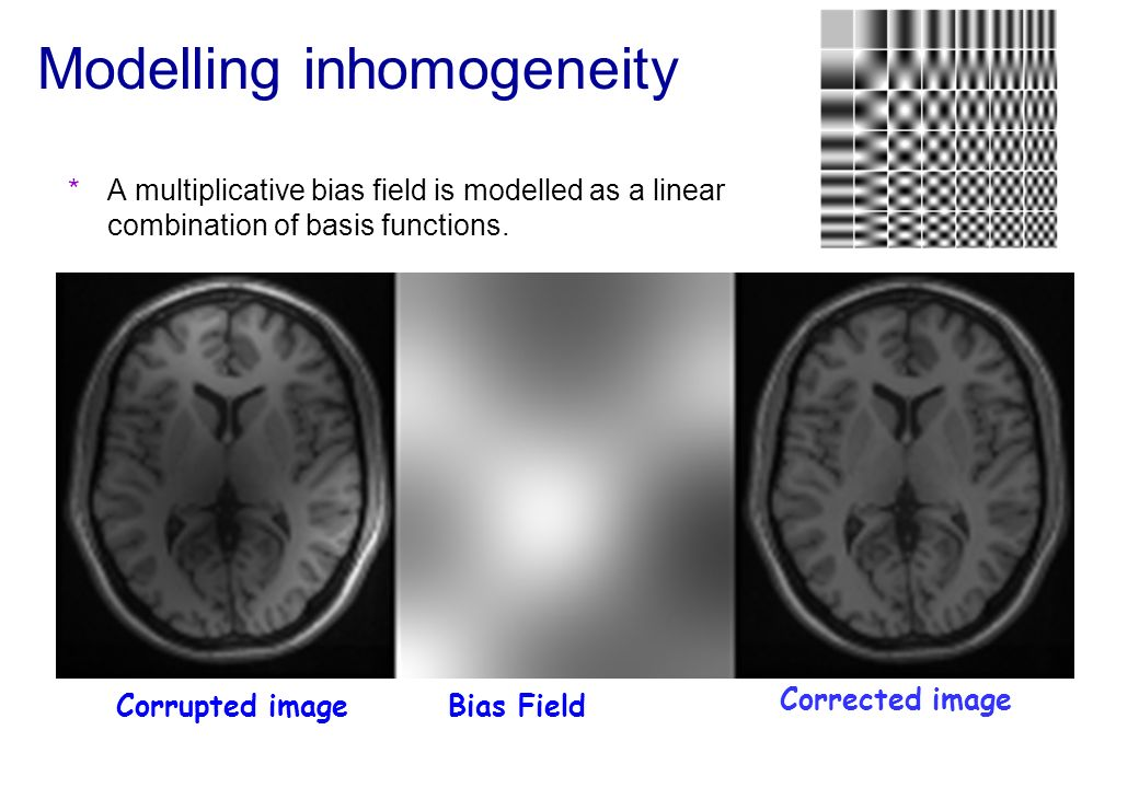 Modelling inhomogeneity *A multiplicative bias field is modelled as a linear combination of basis functions. Corrupted image Corrected image Bias Fiel