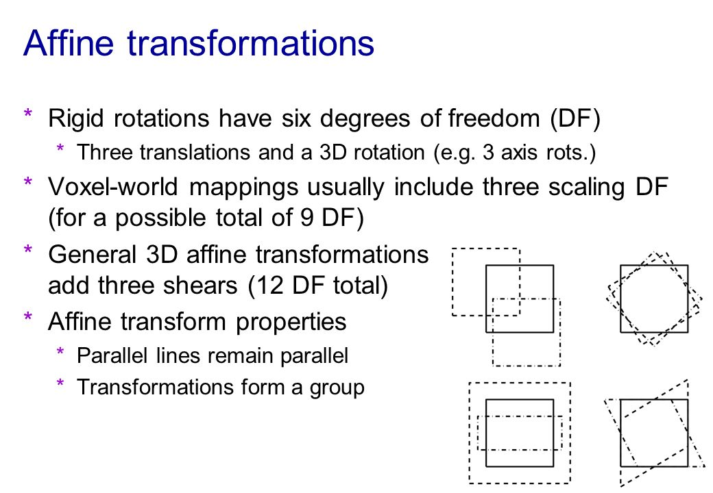 Affine transformations *Rigid rotations have six degrees of freedom (DF) *Three translations and a 3D rotation (e.g. 3 axis rots.) *Voxel-world mappin