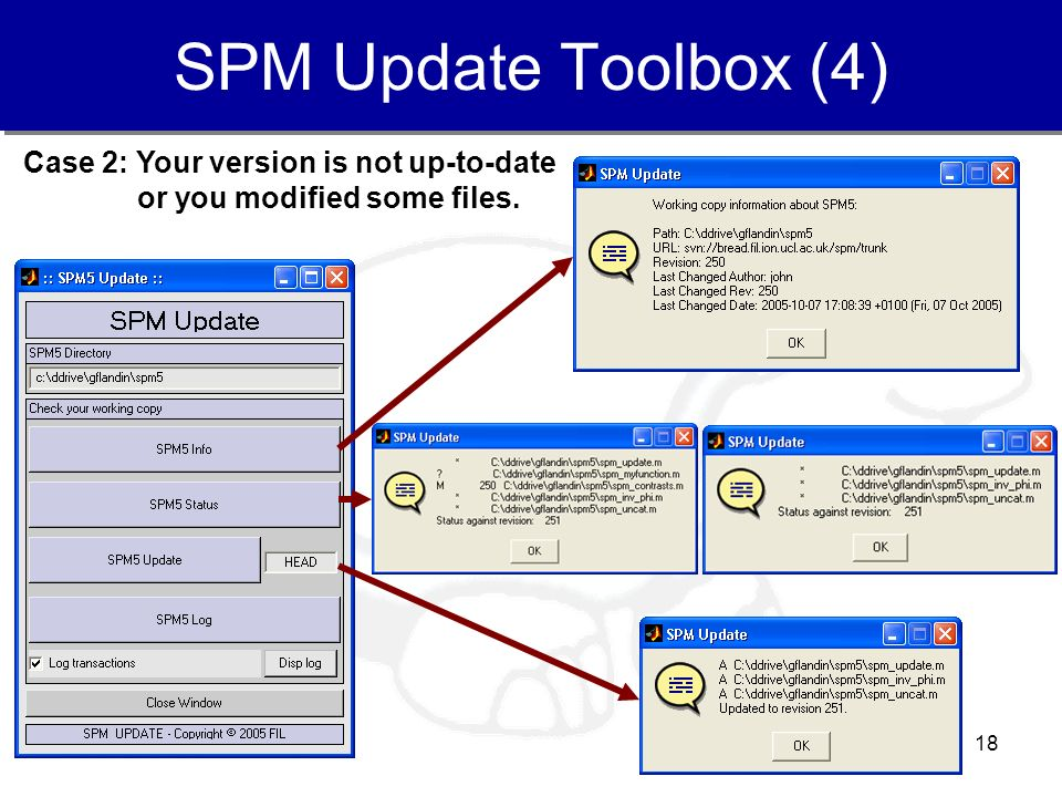 18 SPM Update Toolbox (4) Case 2: Your version is not up-to-date or you modified some files.