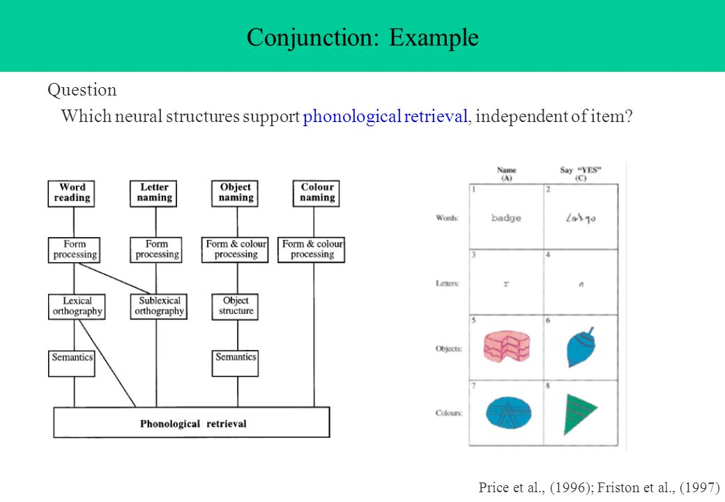 Question Which neural structures support phonological retrieval, independent of item? Conjunction: Example Price et al., (1996); Friston et al., (1997