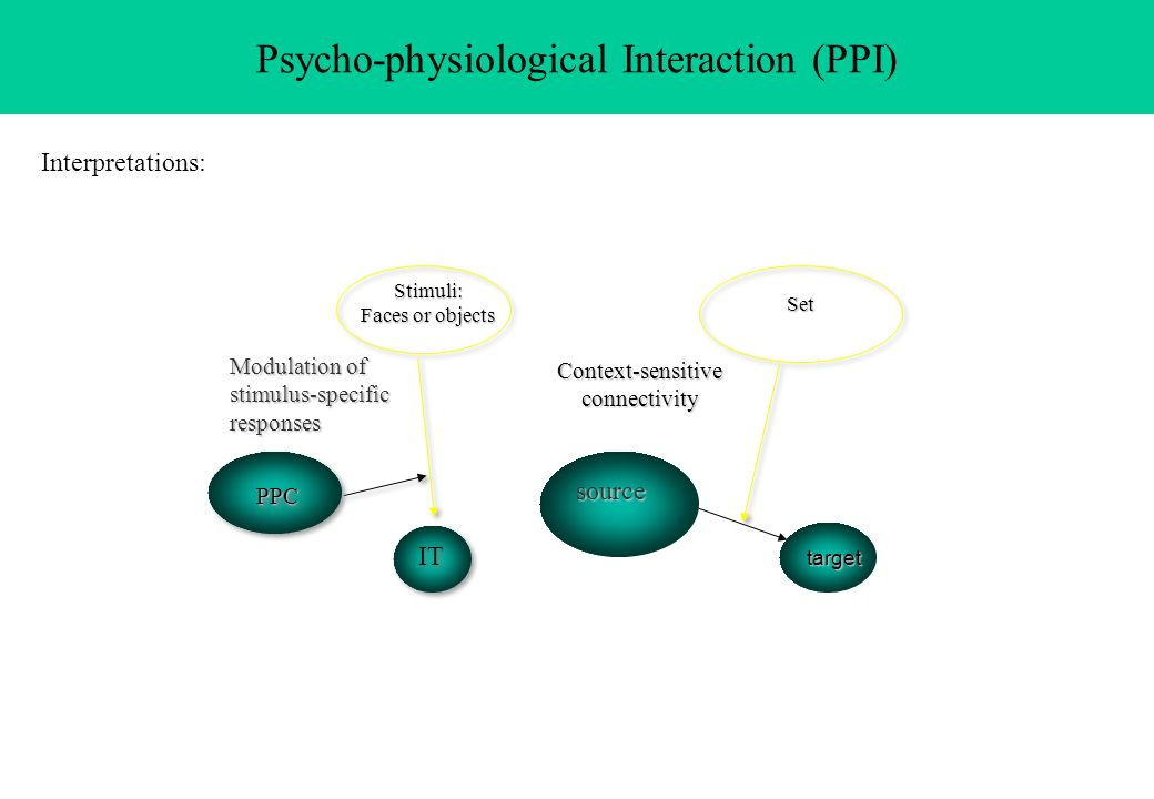 Psycho-physiological Interaction (PPI)Stimuli: Faces or objects PPCPPC IT Set Context-sensitiveconnectivity source target Modulation of stimulus-speci