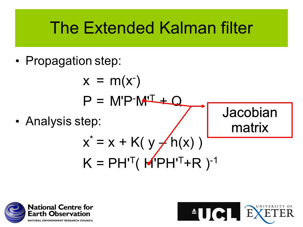 Propagation step: x=m(x - ) P=M'P - M' T + Q Analysis step: x * = x + K( y – h(x) ) K= PH' T ( H'PH' T +R ) -1 The Extended Kalman filter Jacobian mat