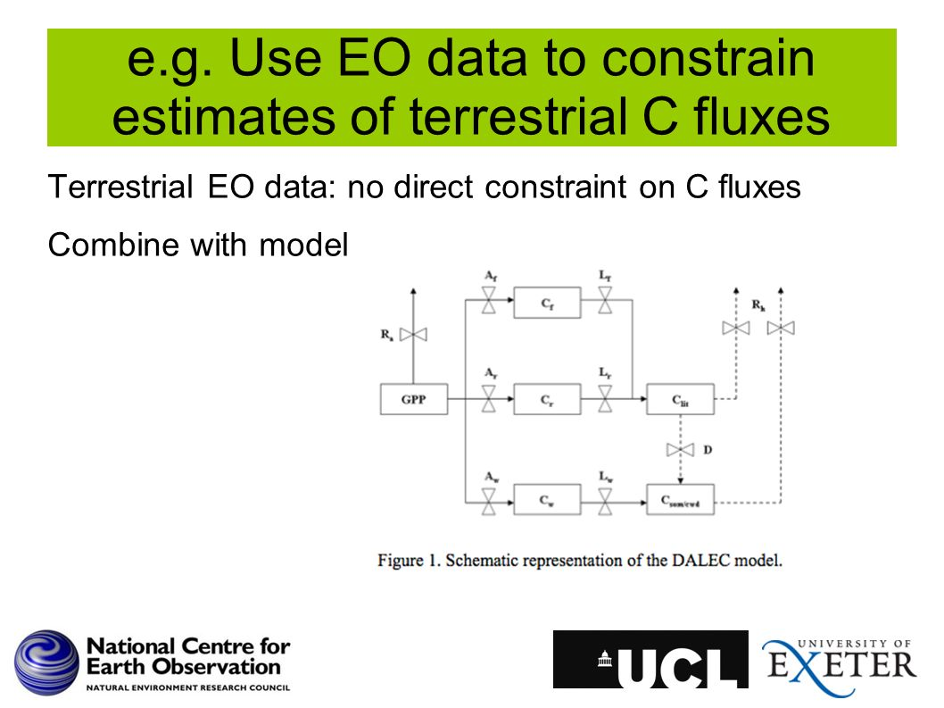e.g. Use EO data to constrain estimates of terrestrial C fluxes Terrestrial EO data: no direct constraint on C fluxes Combine with model