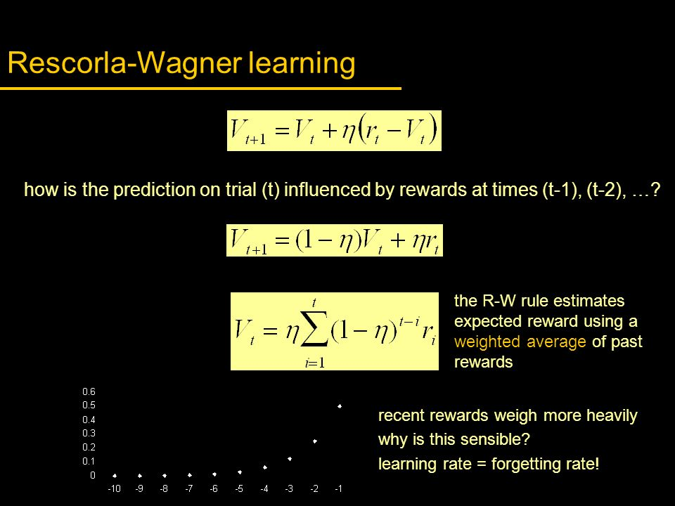 how is the prediction on trial (t) influenced by rewards at times (t-1), (t-2), …? Rescorla-Wagner learning recent rewards weigh more heavily why is t