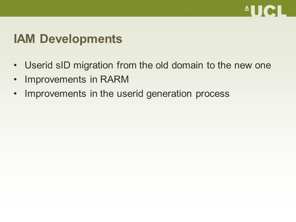 IAM Developments Userid sID migration from the old domain to the new one Improvements in RARM Improvements in the userid generation process