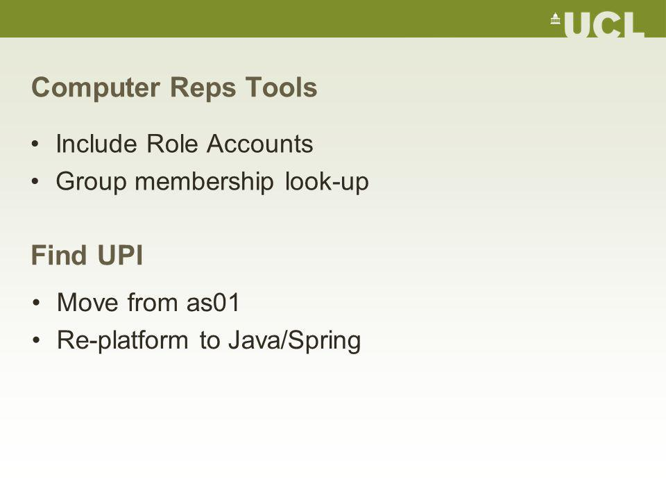 Computer Reps Tools Include Role Accounts Group membership look-up Find UPI Move from as01 Re-platform to Java/Spring