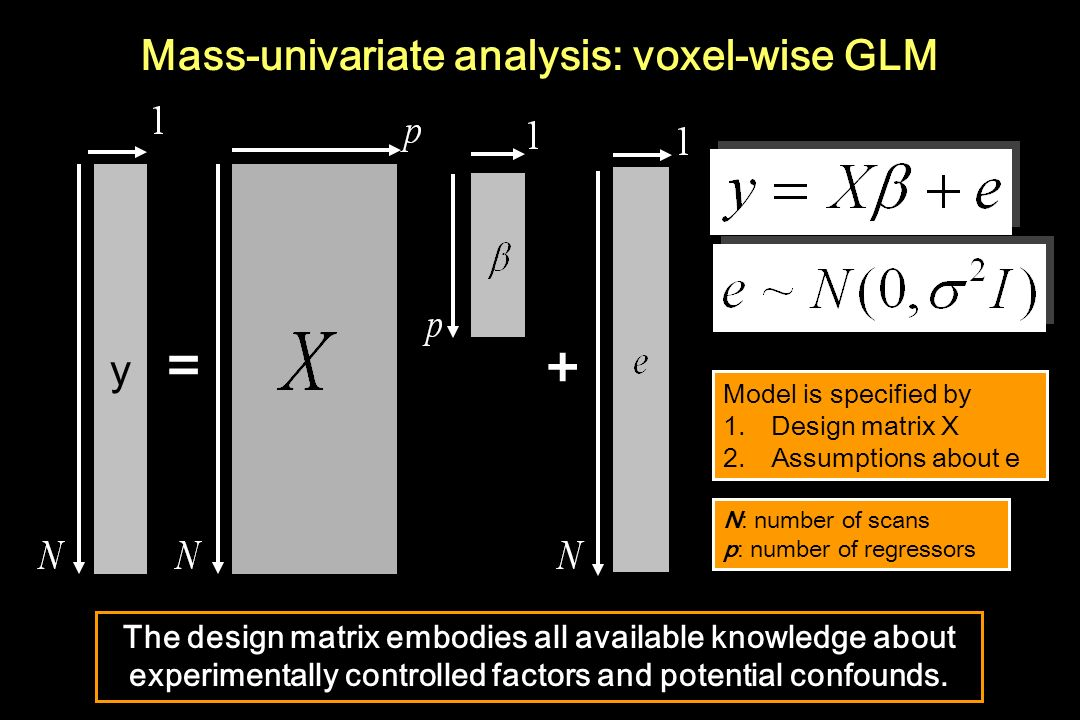 Mass-univariate analysis: voxel-wise GLM = + y y Model is specified by 1.Design matrix X 2.Assumptions about e Model is specified by 1.Design matrix X