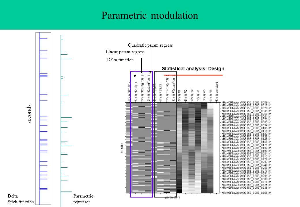 Parametric modulation seconds Delta Stick function Parametric regressor Delta function Linear param regress Quadratic param regress