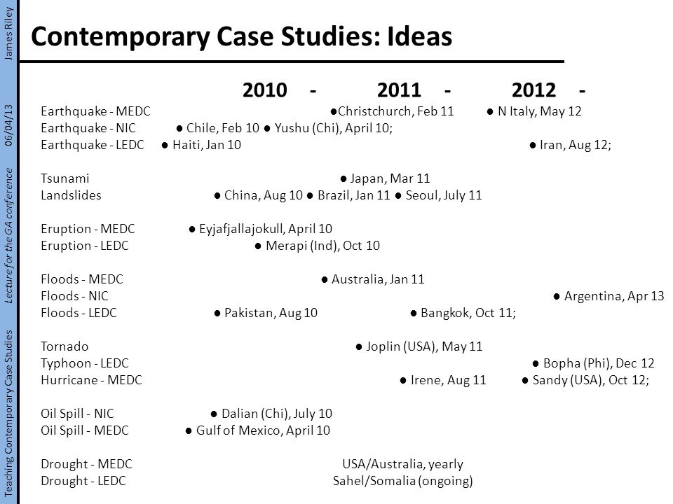 Contemporary Case Studies: Ideas 2010-2011-2012- Earthquake - MEDC Christchurch, Feb 11 N Italy, May 12 Earthquake - NIC Chile, Feb 10 Yushu (Chi), April 10; Earthquake - LEDC Haiti, Jan 10 Iran, Aug 12; Tsunami Japan, Mar 11 Landslides China, Aug 10 Brazil, Jan 11 Seoul, July 11 Eruption - MEDC Eyjafjallajokull, April 10 Eruption - LEDC Merapi (Ind), Oct 10 Floods - MEDC Australia, Jan 11 Floods - NIC Argentina, Apr 13 Floods - LEDC Pakistan, Aug 10 Bangkok, Oct 11; Tornado Joplin (USA), May 11 Typhoon - LEDC Bopha (Phi), Dec 12 Hurricane - MEDC Irene, Aug 11 Sandy (USA), Oct 12; Oil Spill - NIC Dalian (Chi), July 10 Oil Spill - MEDC Gulf of Mexico, April 10 Drought - MEDC USA/Australia, yearly Drought - LEDC Sahel/Somalia (ongoing) Teaching Contemporary Case Studies Lecture for the GA conference 06/04/13 James Riley