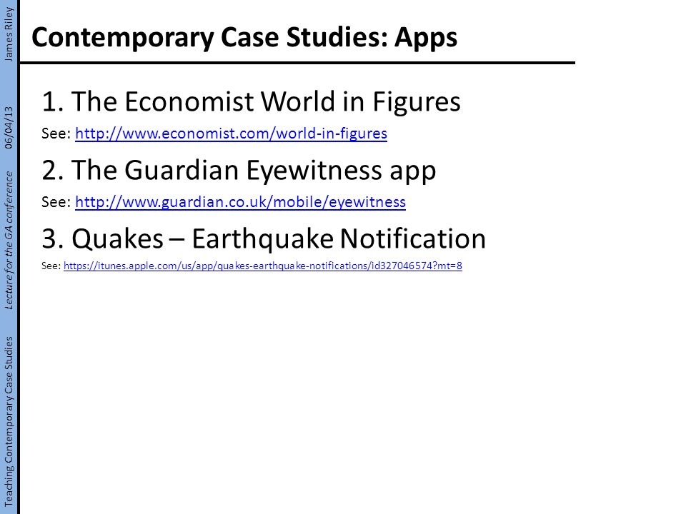 Contemporary Case Studies: Apps 1.