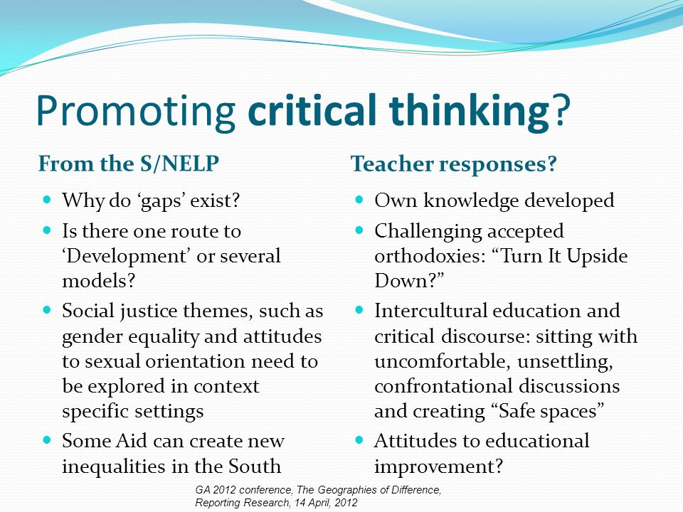 Promoting critical thinking. From the S/NELP Teacher responses.