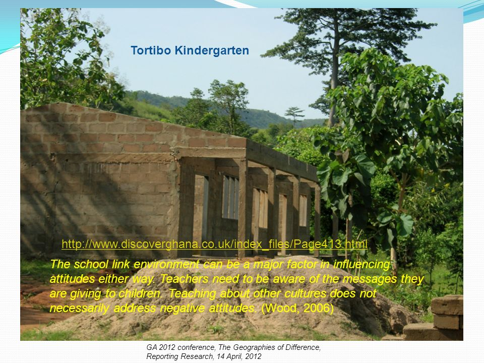 http://www.discoverghana.co.uk/index_files/Page413.html Tortibo Kindergarten The school link environment can be a major factor in influencing attitudes either way.