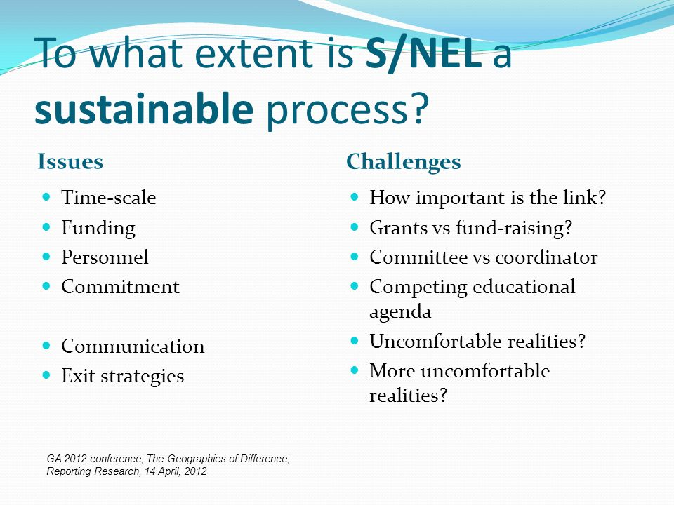 To what extent is S/NEL a sustainable process.