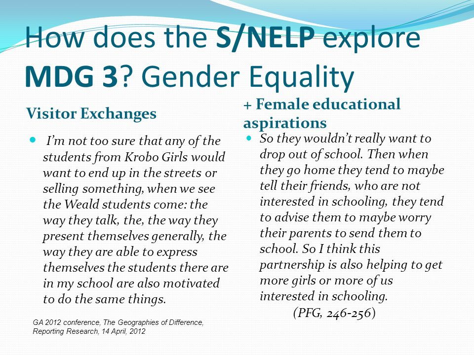 How does the S/NELP explore MDG 3.
