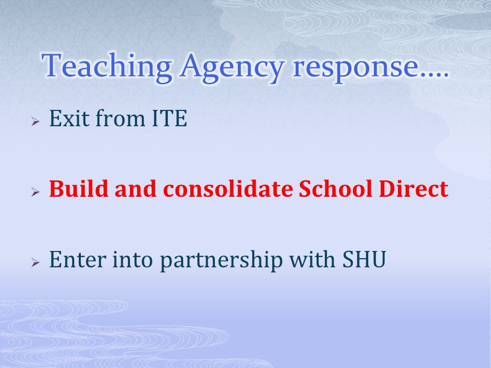 Exit from ITE Build and consolidate School Direct Enter into partnership with SHU
