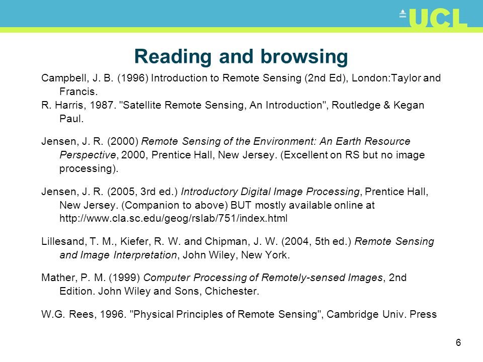 6 Reading and browsing Campbell, J. B. (1996) Introduction to Remote Sensing (2nd Ed), London:Taylor and Francis. R. Harris, 1987.